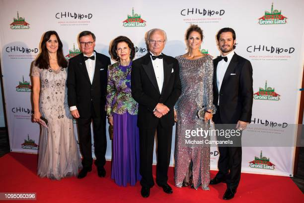 Queen Silvia of Sweden King Carl XVI Gustaf of Sweden Princess Madeleine of Sweden and Prince Carl Phillip of Sweden attend a charity dinner in...