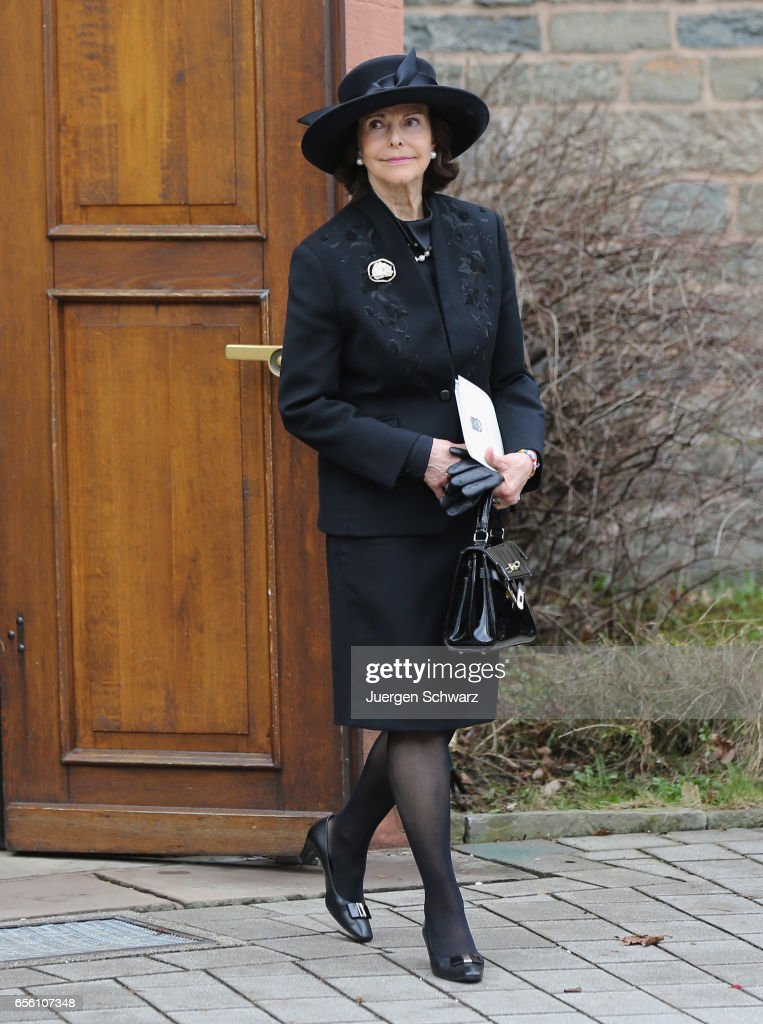 Queen Silvia of Sweden leaves the funeral service for the deceased Prince Richard of Sayn-Wittgenstein-Berleburg (1934 - 2017) at the Evangelische Stadtkirche on March 21, 2017 in Bad Berleburg, Germany. Prince Richard, husband of Princess Benedikte of Denmark, died suddenly on March 13, 2017 at age 83.