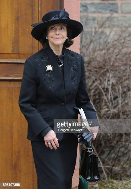 Queen Silvia of Sweden leaves the funeral service for the deceased Prince Richard of SaynWittgensteinBerleburg at the Evangelische Stadtkirche on...