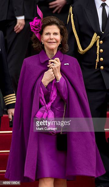 Queen Silvia of Sweden leaves the Town Hall after lunch during festivities for the 75th birthday of Queen Margrethe II Of Denmark on April 16, 2015...