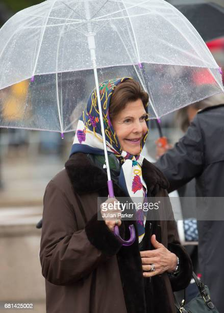 Queen Silvia of Sweden leaves to attend a lunch on the Norwegian Royal Yacht 'Norge' as part of the celebrations of the 80th Birthdays of King Harald...