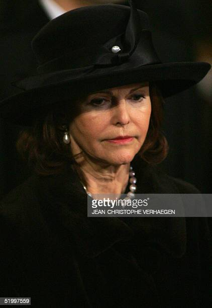 Queen Silvia of Sweden listens to a sermon during the funeral of Luxembourg Grand Duchess JosephineCharlotte at the Notre Dame Cathedral in...
