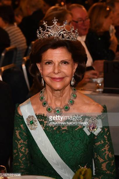 Queen Silvia of Sweden looks on during the Nobel Prize banquet in Stockholm City Hall Sweden on December 10 2018