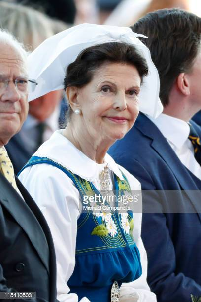 Queen Silvia of Sweden participates in a ceremony celebrating Sweden's national day at Skansen on June 06, 2019 in Stockholm, Sweden.