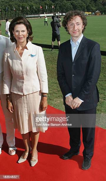 Queen Silvia of Sweden President of Mentor International and Stephane Bern attend the Mentor International Prevention Awards Gala at The Polo Club...