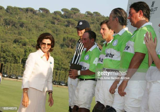 Queen Silvia of Sweden President of Mentor International remits prizes to the Polo Team at the Mentor International Prevention Awards Gala at The...