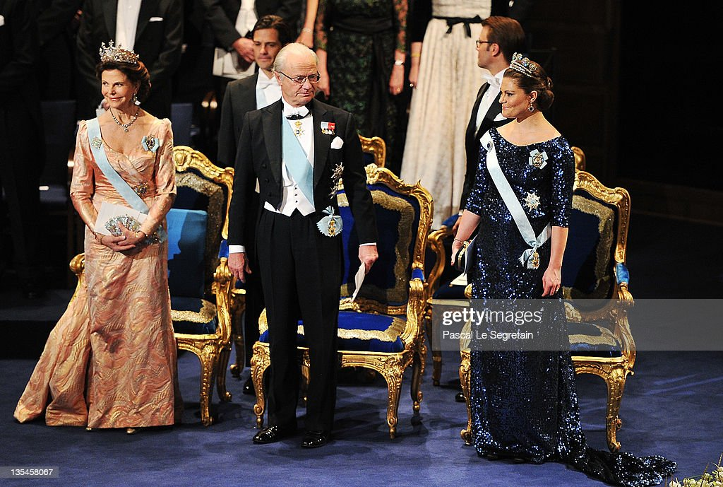Queen Silvia of Sweden, Prince Carl Philip of Sweden, King Carl XVI Gustaf of Sweden, Prince Daniel of Sweden and Crown Princess Victoria of Sweden attend the Nobel Prize Award Ceremony 2011 at Stockholm Concert Hall on December 10, 2011 in Stockholm, Sweden.