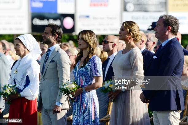 Queen Silvia of Sweden, Prince Carl Philip of Sweden, Princess Sofia of Sweden, Princess Madeleine of Sweden and her husband Chris O'Neill are seen...