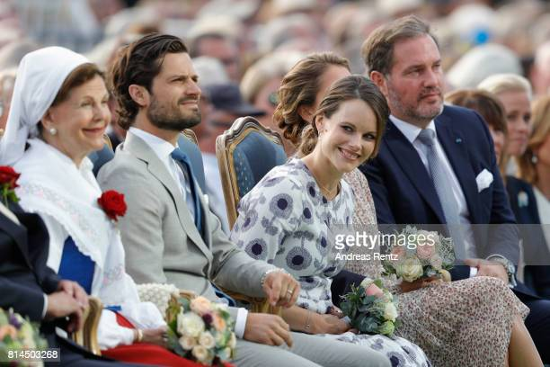 Queen Silvia of Sweden, Prince Carl Philip of Sweden, Princess Sofia of Sweden and Christopher O'Neill attend the celebrations of Crown Princess...