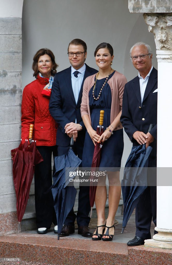 Queen Silvia of Sweden, Prince Daniel, Duke of Vastergotland, Crown Princess Victoria of Sweden and King Carl XVI Gustaf of Sweden attend Crown Princess Victoria's birthday celebrations at Solliden on July 14, 2011 in Borgholm, Sweden.