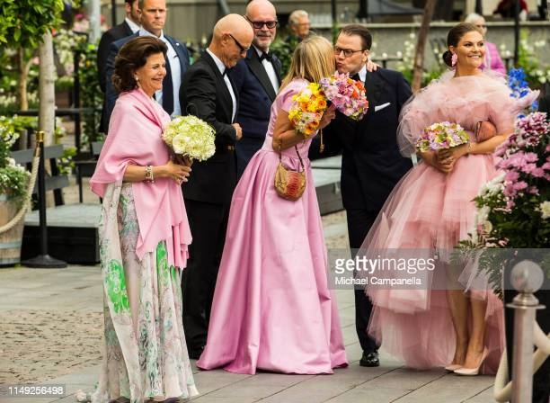 Queen Silvia of Sweden, Prince Daniel of Sweden and Crown Princess Victoria of Sweden arrive at the red carpet during the 2019 Polar Music Prize...
