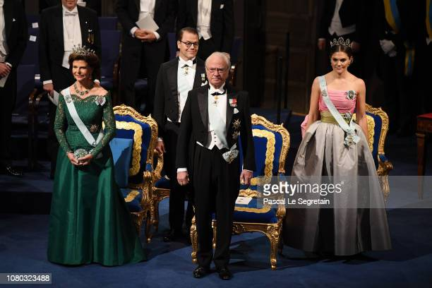 Queen Silvia of Sweden, Prince Daniel of Sweden, King Carl XVI Gustaf of Sweden and Crown Princess Victoria of Sweden attend the Nobel Prize Awards...
