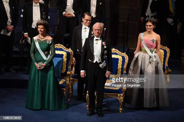 Queen Silvia of Sweden, Prince Daniel of Sweden, King Carl XVI Gustaf of Sweden and Crown Princess Victoria of Sweden attend the Nobel Prize Awards...