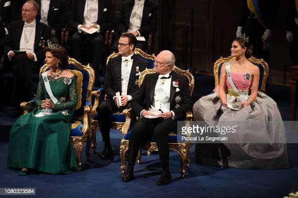 Queen Silvia of Sweden Prince Daniel of Sweden King Carl XVI Gustaf of Sweden and Crown Princess Victoria of Sweden attend the Nobel Prize Awards...