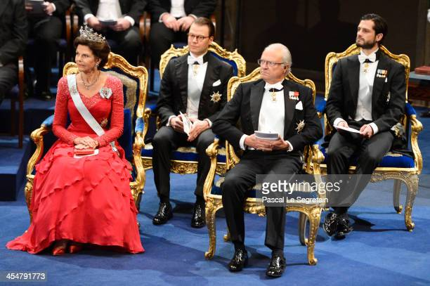 Queen Silvia of Sweden Prince Daniel of Sweden King Carl XVI Gustaf of Sweden and Prince Carl Philip of Sweden attend the Nobel Prize Awards Ceremony...