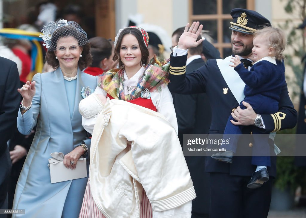 Queen Silvia of Sweden, Prince Gabriel of Sweden, Duke of Dalarna held by Princess Sofia of Sweden and Prince Carl Philip holding Prince Alexander, Duke of Sodermanland attend the christening of Prince Gabriel of Sweden at Drottningholm Palace Chapel on December 1, 2017 in Stockholm, Sweden.