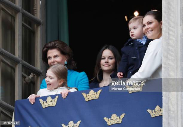 Queen Silvia of Sweden, Princess Estelle, Duchess of Ostergotland, Princess Sofia, Duchess of Varmland, Prince Oscar, Duke of Skane and Crown...