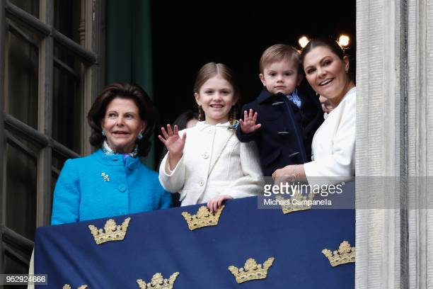 Queen Silvia of Sweden Princess Estelle Duchess of Ostergotland Prince Oscar Duke of Skane and Crown Princess Victoria of Sweden attend a celebration...