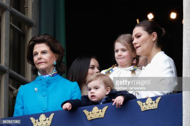 Queen Silvia of Sweden, Princess Sofia, Duchess of Varmland, Princess Estelle, Duchess of Ostergotland, Prince Oscar, Duke of Skane and Crown...