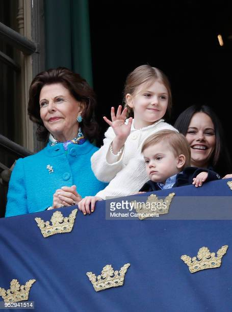 Queen Silvia of Sweden, Princess Sofia, Duchess of Varmland, Princess Estelle, Duchess of Ostergotland and Prince Oscar, Duke of Skane attend a...