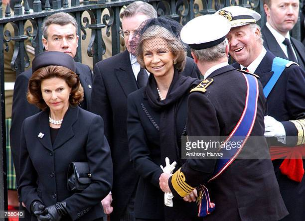Queen Silvia of Sweden Queen Sofia of Spain and King Juan Carlos of Spain leave Westminster Abbey following the state funeral of the Queen Mother...