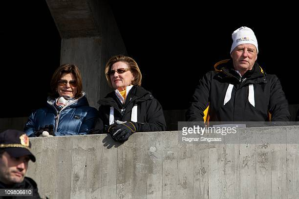 Queen Silvia of Sweden Queen Sonja of Norway and King Harald V of Norway attend the Men's 50km Free Mass Start in the FIS Nordic World Ski...
