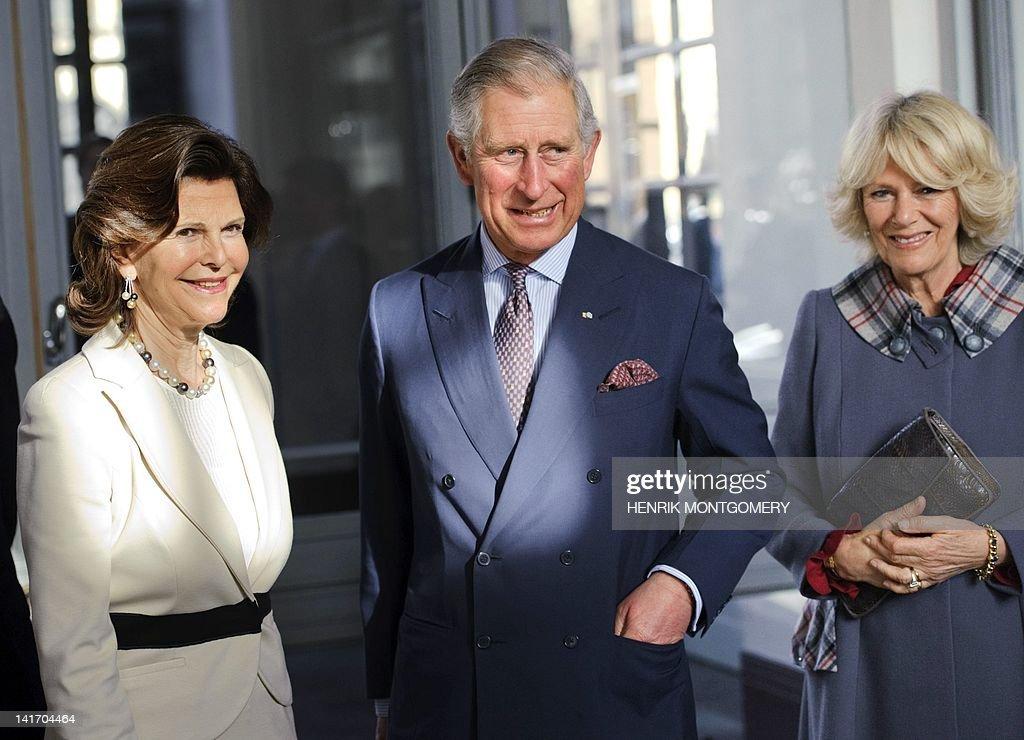 Queen Silvia of Sweden (L) receives Brit : News Photo