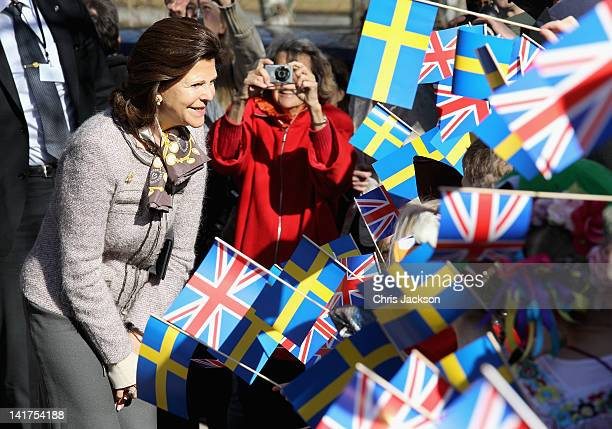 Queen Silvia of Sweden visits the British International Primary School on March 23 2012 in Stockholm Sweden Prince Charles Prince of Wales and...