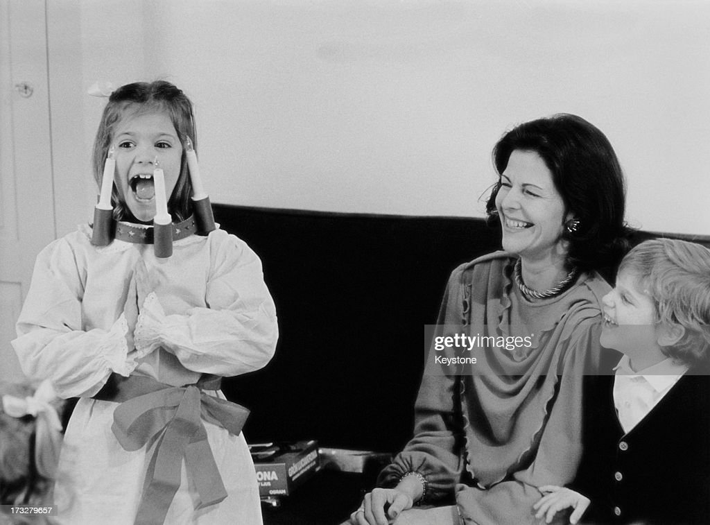 Queen Silvia of Sweden with her children Crown Princess Victoria of Sweden and Prince Carl Philip of Sweden, 1984.