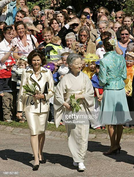 Queen Silvia Of Sweden With Her Imperial Majesty Empress Michiko Of Japan Attend The Tercentenary Birthday Celebrations For Carl Linnaeus In...