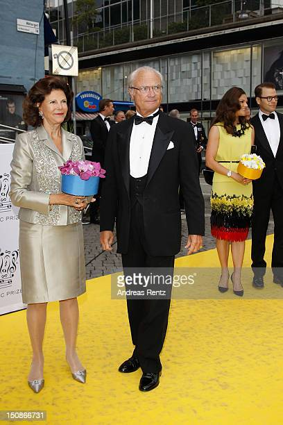 Queen Silvia of Sweden with King Carl XVI Gustaf of Sweden and Princess Victoria of Sweden with Prince Daniel arrive for the Polar Music Prize at...