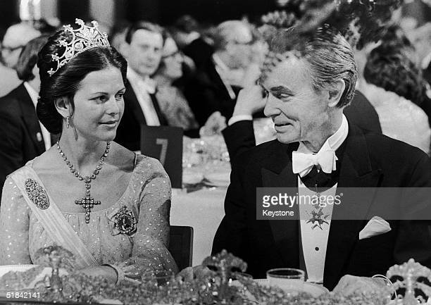 Queen Silvia of Sweden with Professor Sune Bergstrom chairman of the Nobel Foundation at the Nobel Prize Banquet Stockholm 10th December 1976