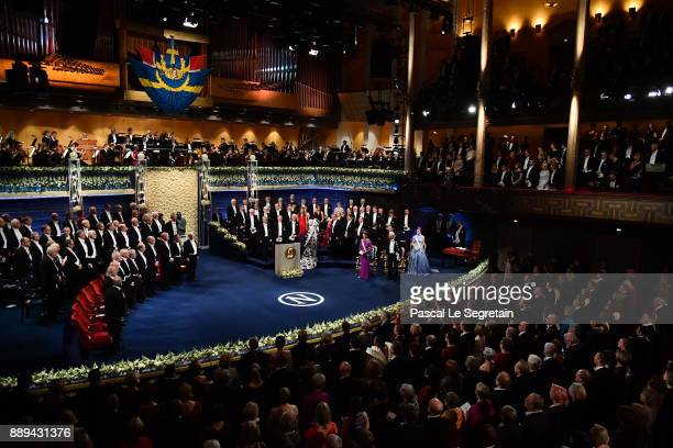 Queen Silvia of Sweden,King Carl XVI Gustaf of Sweden and Crown Princess Victoria of Sweden attend the Nobel Prize Awards Ceremony at Concert Hall on...