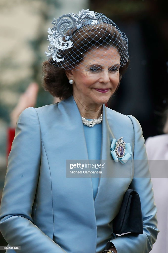 Queen Silvia of Swedenleaves the chapel after the christening of Prince Gabriel of Sweden at Drottningholm Palace Chapel on December 1, 2017 in Stockholm, Sweden.