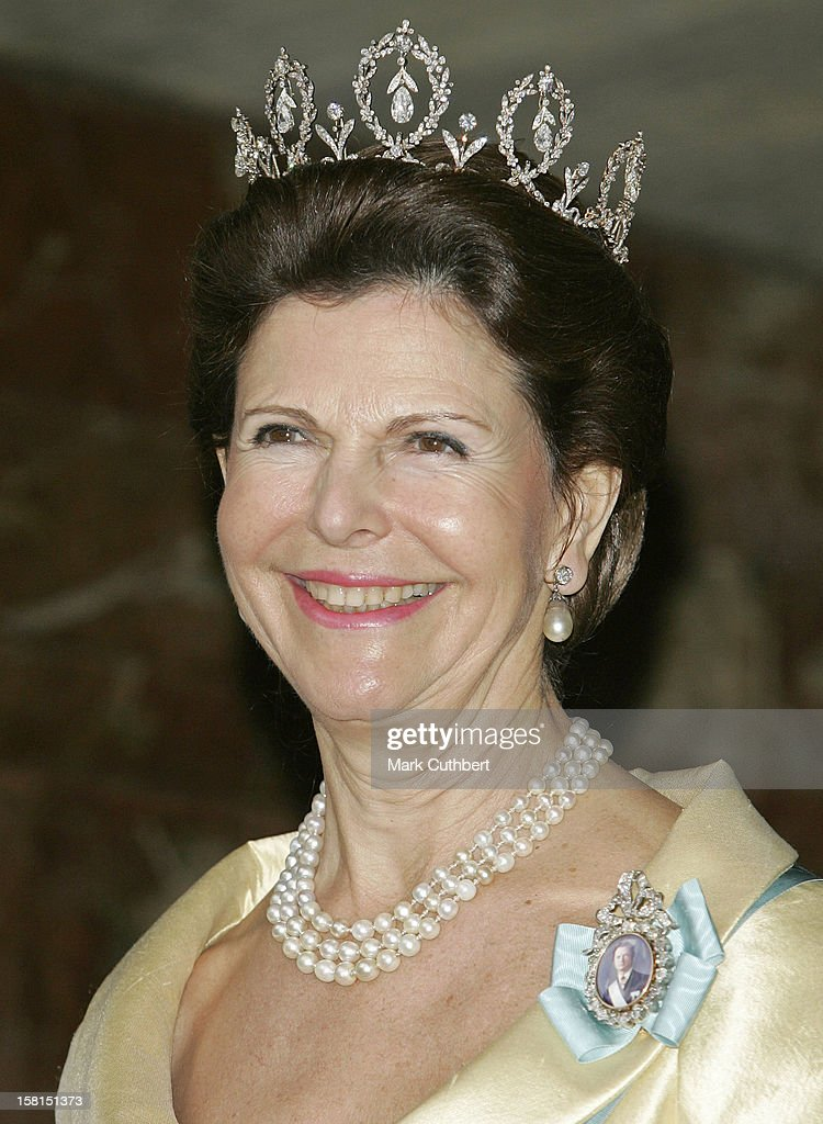Queen Silvia Of Sweden-Return Dinner At Malmo Town Hall In Sweden During The Swedish State Visit To Denmark. .