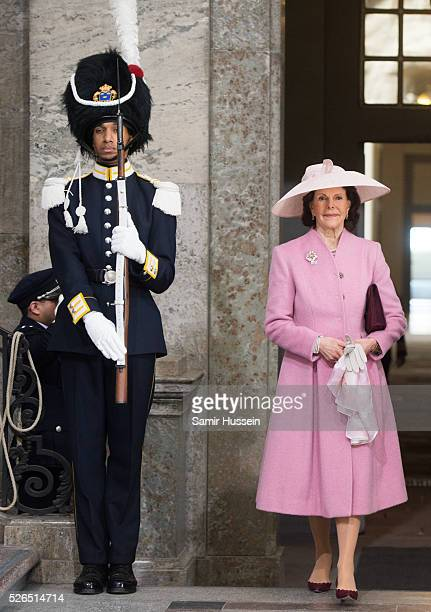 Queen Silvia of Swedens arrive at the Royal Palace to attend Te Deum Thanksgiving Service to celebrate the 70th birthday of King Carl Gustaf of...