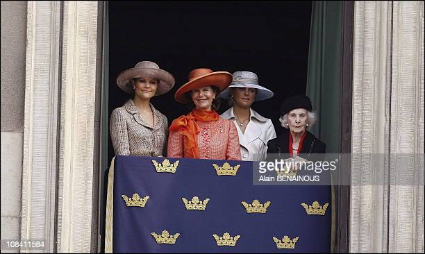 Queen Silvia Princess Victoria and Madeleine Princess Lilian in Drottningholm Sweden on April 30 2006
