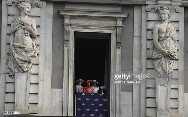 Queen Silvia, Princess Victoria and Madeleine, Princess Lilian in Drottningholm, Sweden on April 30, 2006.