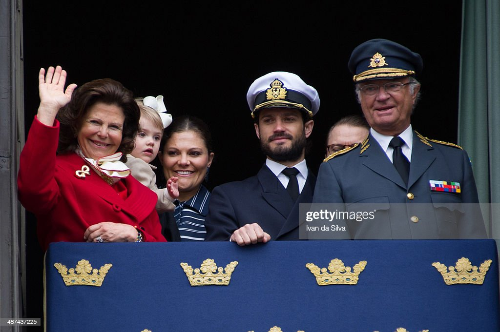 Queen Silvia, Princess Victoria, Princess Estelle, Prince Carl Philip, Prince Daniel and King Carl XVI Gustaf of Sweden attend the birthday cermony of King Carl XVI Gustaf of Sweden at the Royal Palace on April 30, 2014 in Stockholm, Sweden.