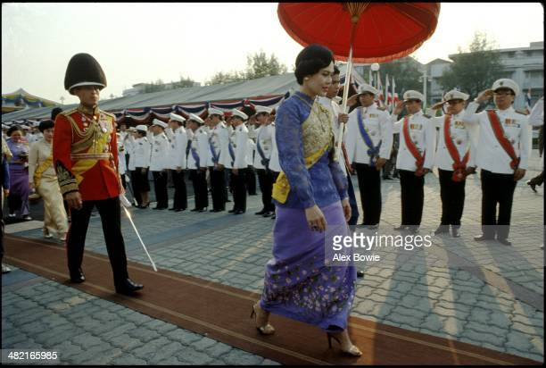 Queen Sirikit and son Crown Prince Maha Vajiralongkorn seen during celebrations marking the 180th Commemoration of the Birth of King Mongkut Bangkok...