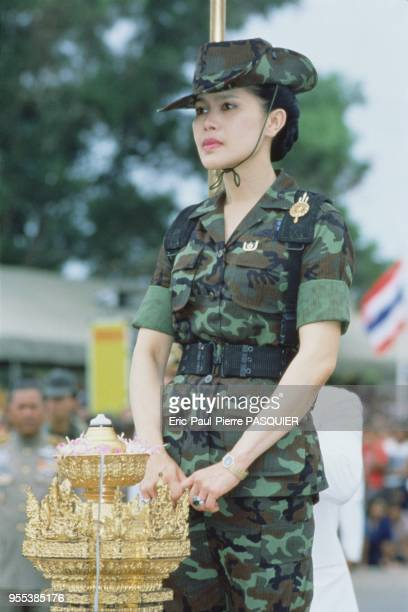 Queen Sirikit in military costume.