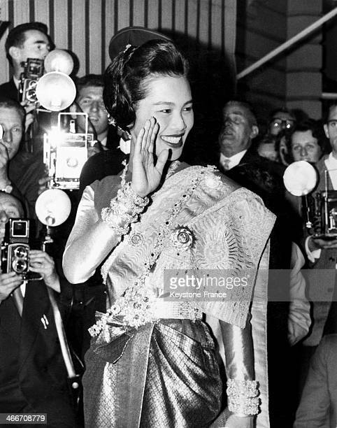 Queen Sirikit Kitiyakara Of Thailand waves at the crowd when arriving at the Thai embassy at Ashburn place in London United Kingdom for a dinner...