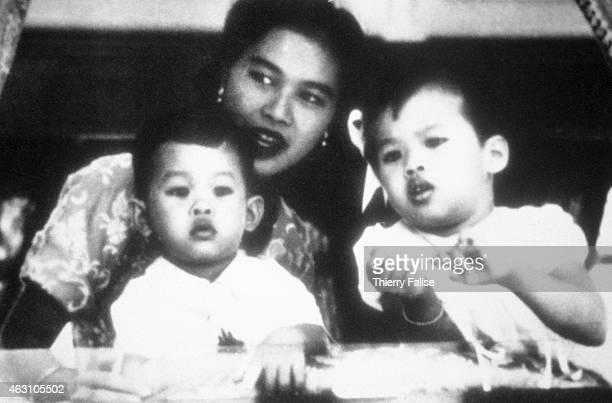 Queen Sirikit of Thailand wife of king Bhumibol Adulyadej with her two eldest children prince Maha Vajiralongkorn and princess Ubolratana Rajakanya...