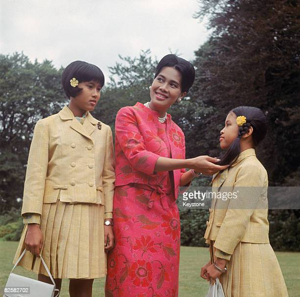 Queen Sirikit of Thailand with her two youngest daughters Princesses Sirindhorn and Chulabhorn at King's Beeches their private residence in...