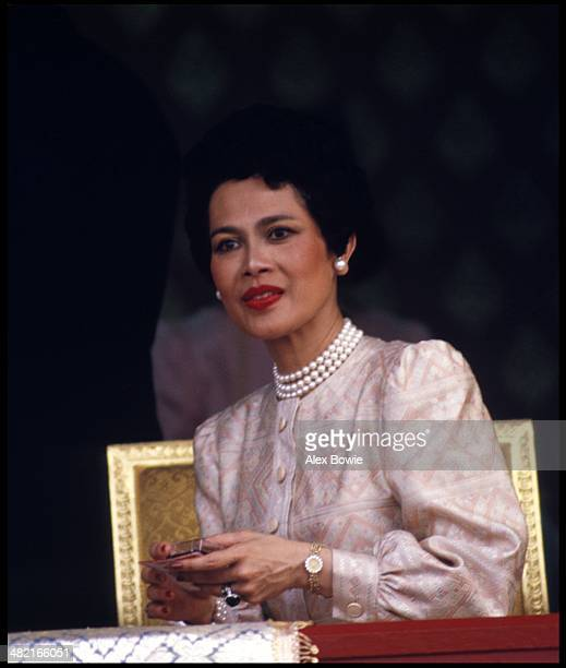 Queen Sirikit seen during the visit to Thailand of Malcolm Forbes at the launch of a 90-foot-tall elephant-shaped balloon in the showgrounds beside...