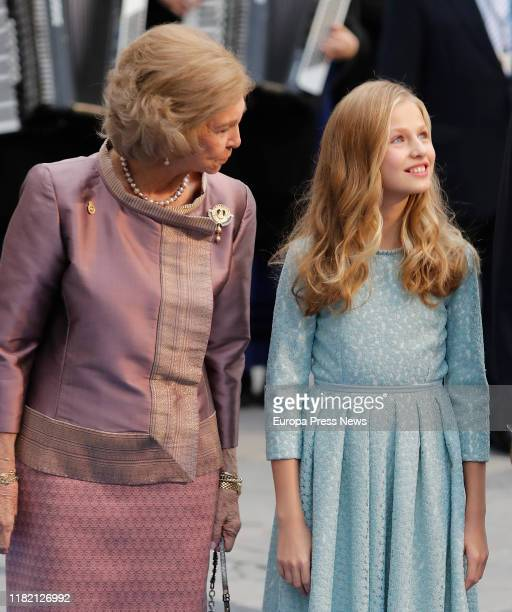 Queen Sofía and Princess Leonor on their arrival at the Ceremony for the Princess of Asturias 2019 Awards held at the Campoamor Theatre on October 18...