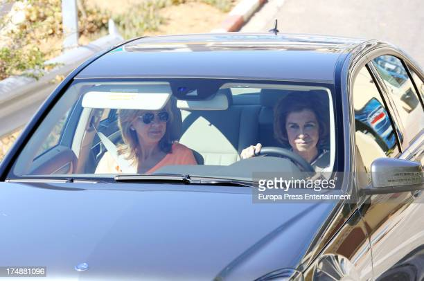 Queen Sofía of Spain and her daughter Princess Cristina of Spain are seen in Mallorca on July 29 2013 in Mallorca Spain Princess Cristina of Spain...