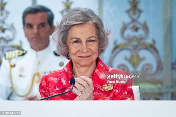Queen Sofía of Spain attends 'Fundacion Mapfre Awards 2018' at Casino de Madrid on June 12, 2019 in Madrid, Spain.