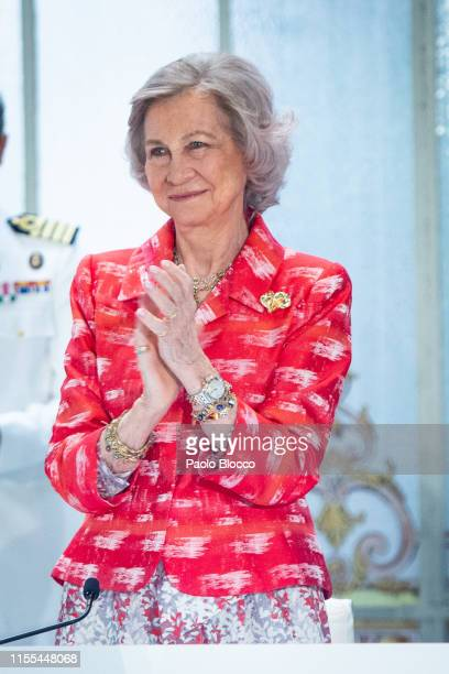 Queen Sofía of Spain attends 'Fundacion Mapfre Awards 2018' at Casino de Madrid on June 12 2019 in Madrid Spain