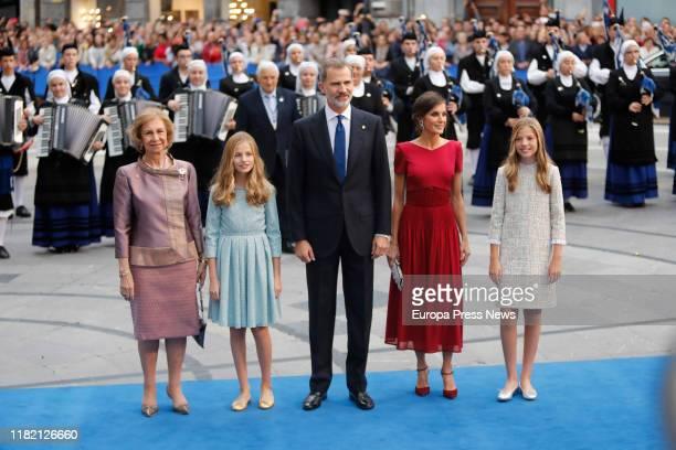 Queen Sofía, Princess Leonor, King Felipe VI, Queen Letizia, and Infanta Sofía, on their arrival at the Ceremony for the Princess of Asturias 2019...